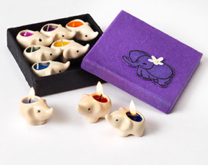 Multi-Coloured Elephant Candles