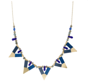 Necklace 5 triangles with blue cotton