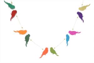 Handmade Paper Garland, Lovebirds