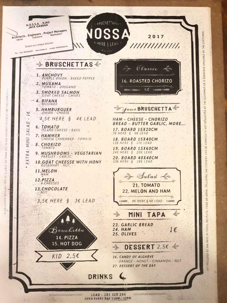 Nossa-Taska Brushetteria Tavira- menu