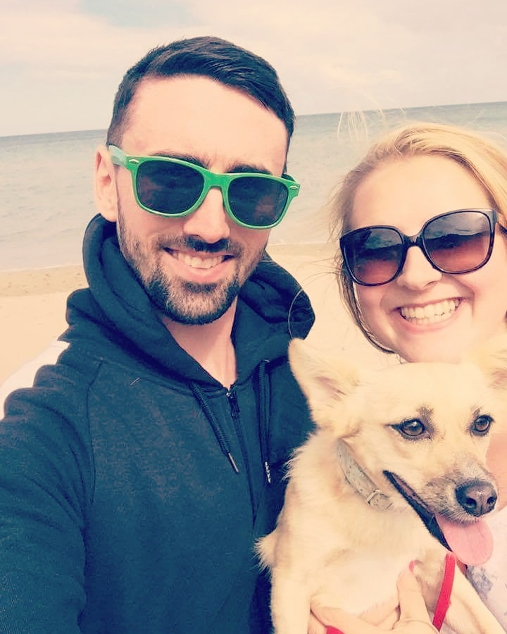 couple and dog beach