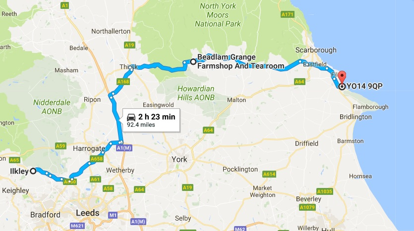 ilkley to filey map